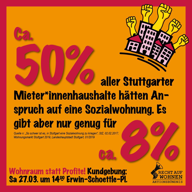 Stuttgart: Ca. 50% aller Haushalte hätten Anspruch auf Sozialwohnung