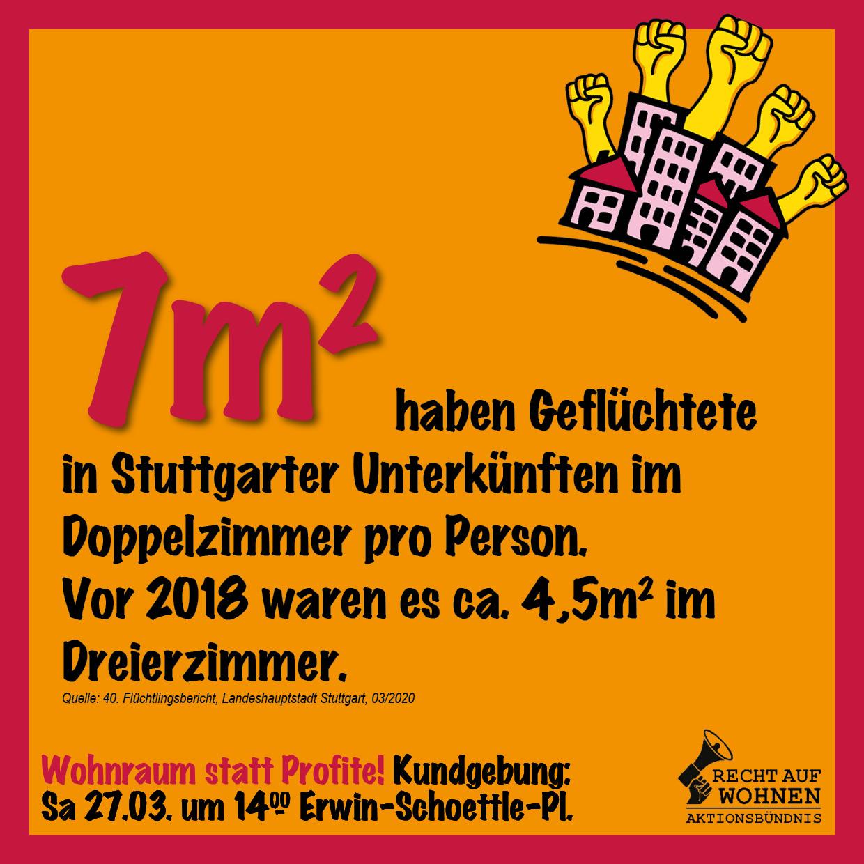 Stuttgart: 7m² für Geflüchtete in Unterkünften