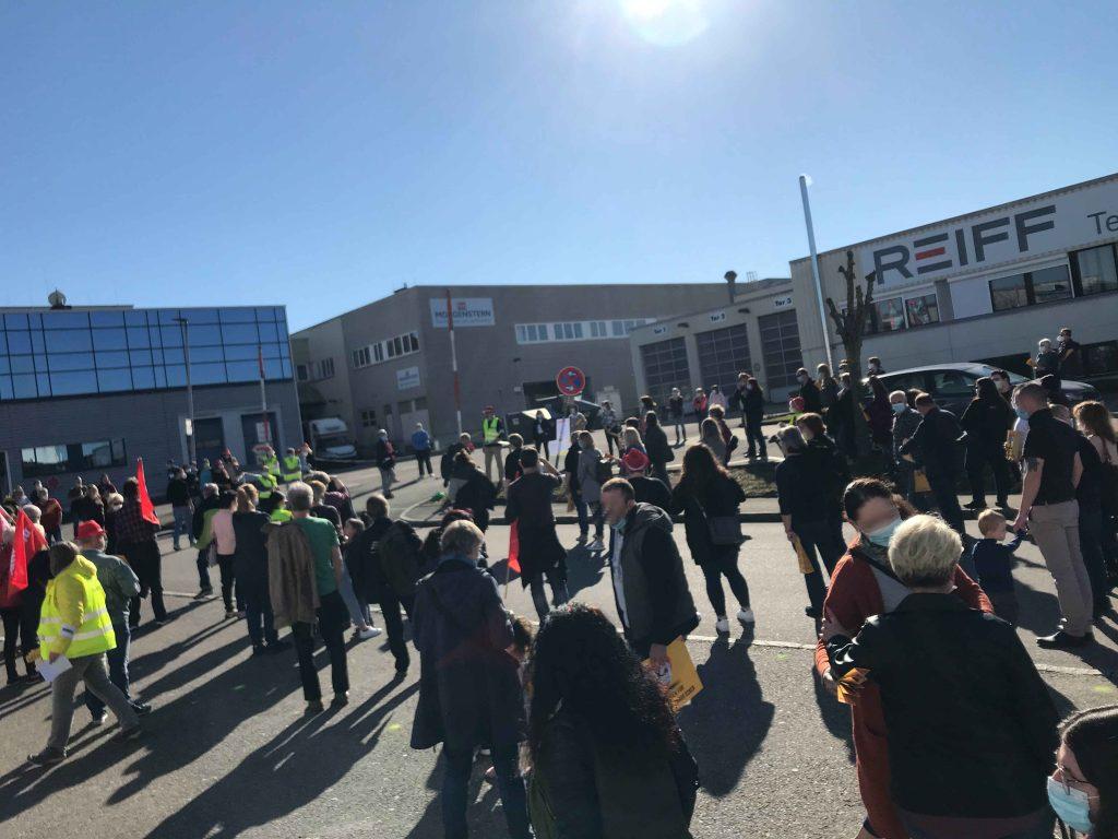 Protestaktion von K&U-Beschäftigten in Reutlingen
